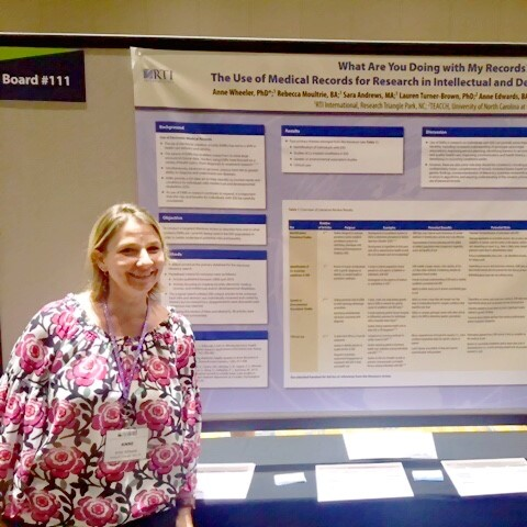 Anne Wheeler presenting poster at AAIDD conference. Photo courtesy of Anne Wheeler